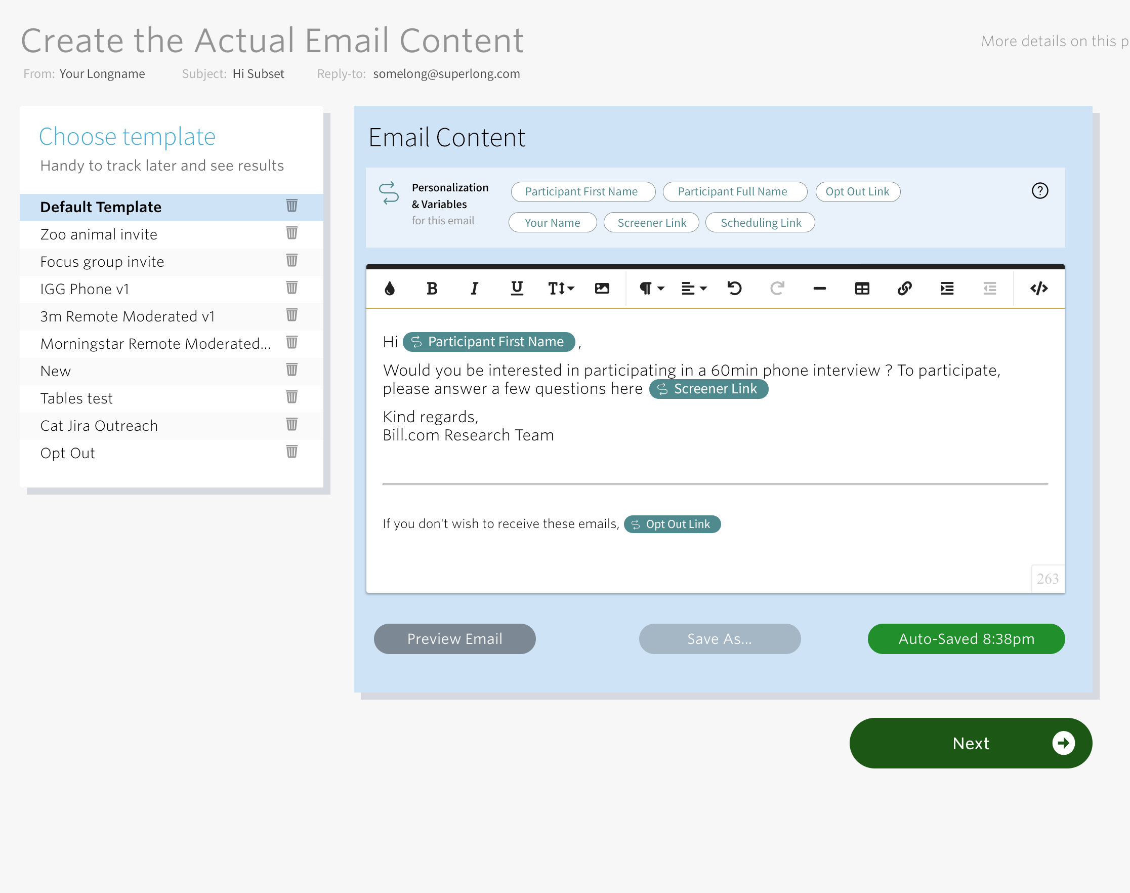 Email content variables